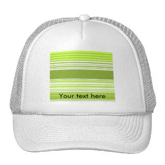 Modern neon green and moss stripes trucker hat