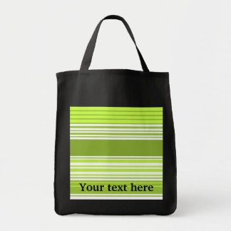 Modern neon green and moss stripes grocery tote bag