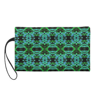 Modern Neon Green On Black Pattern Wristlet
