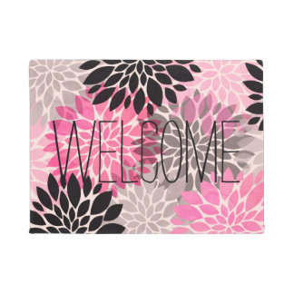 Modern neon pink black watercolor floral pattern doormat