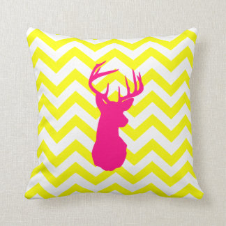 Modern Neon Pink Deer Head Yellow Chevron Pattern Cushion
