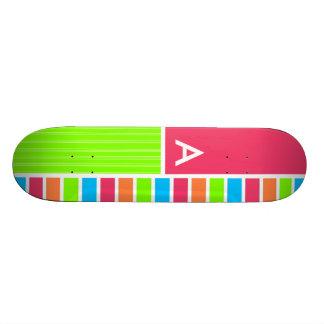 Modern Neon Stripes Pink Blue Green Skate Board