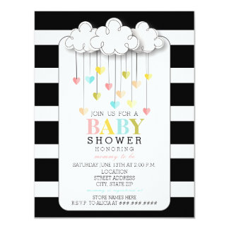 Modern Neutral Baby Shower Black + White Clouds Card