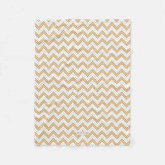 Modern neutral gold and white chevron pattern fleece blanket