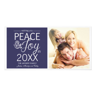 Modern New Year Wishes Peace and Joy Photo Card