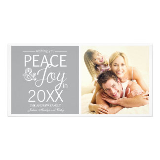 Modern New Year Wishes Peace and Joy Photo Greeting Card