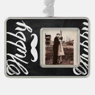 modern newly wed honeymoon groom mustache hubby silver plated framed ornament