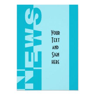 Modern NEWS Banner + your backgr. & ideas 13 Cm X 18 Cm Invitation Card