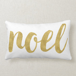 Modern Noel In Gold Festive Holiday Decorative Lumbar Cushion