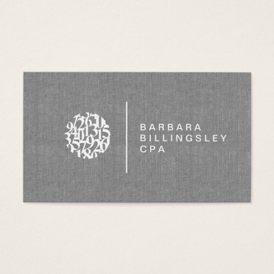 Modern Numbers Logo Linen Accountant Business Card