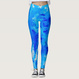 Modern ocean abstract art leggings