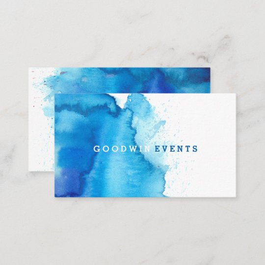 modern ocean beachy blue watercolor business cards zazzle co uk
