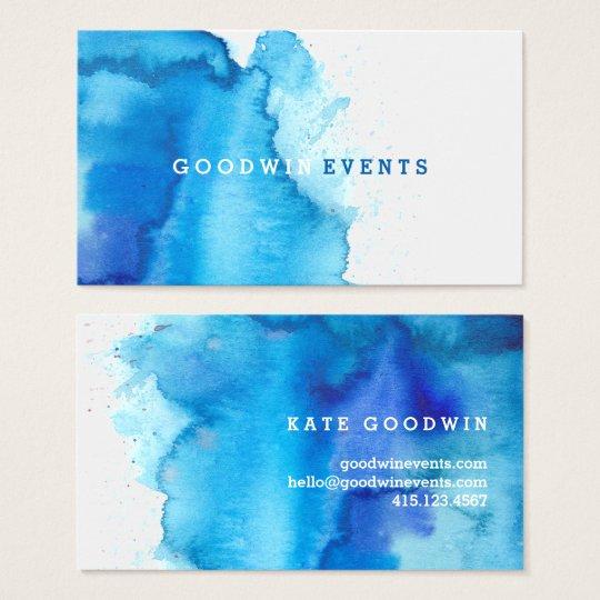 Modern Ocean Beachy Blue Watercolor Business Cards