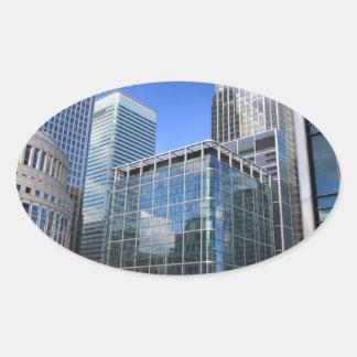 Modern Office Buildings Oval Sticker