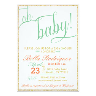 Modern Oh Baby Shower Coral Mint Gold Glitter Card