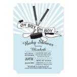 Modern Oh Boy Hockey Boys Baby Shower 13 Cm X 18 Cm Invitation Card