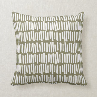 Modern Olive and White Line Pattern | Throw Pillow