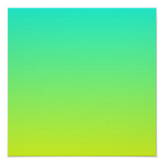 modern ombre lemon yellow lime green turquoise poster