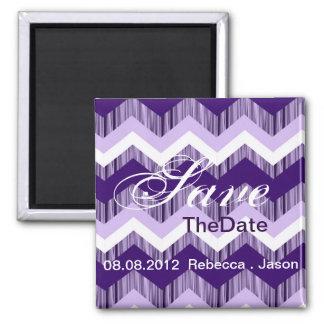 modern ombre purple chevron wedding save the date fridge magnet