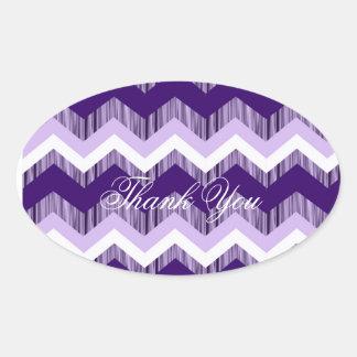 modern ombre purple chevron wedding thank you oval sticker