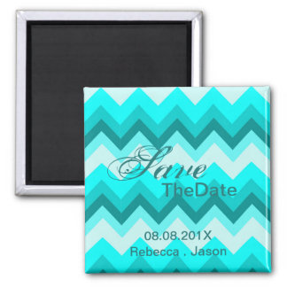 modern ombre turquoise chevron save the date magnet