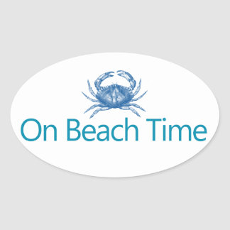 "Modern ""On Beach Time"" Oval Sticker"