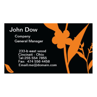 Modern orange and black floral VOL1 Business Card Template