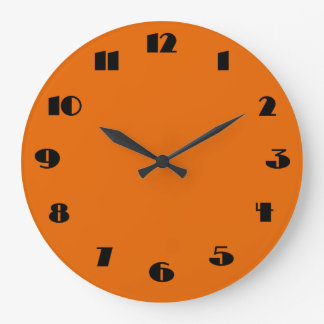Modern Orange and Black Wall Clock