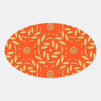 Modern Orange and Gold Floral Pattern Oval Sticker