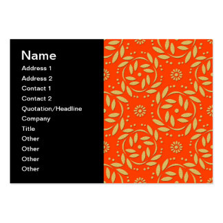 Modern Orange and Gold Floral Pattern Pack Of Chubby Business Cards