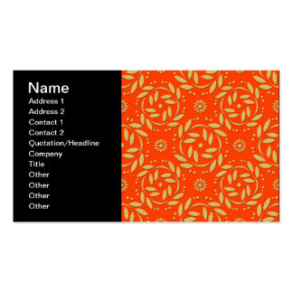 Modern Orange and Gold Floral Pattern Pack Of Standard Business Cards
