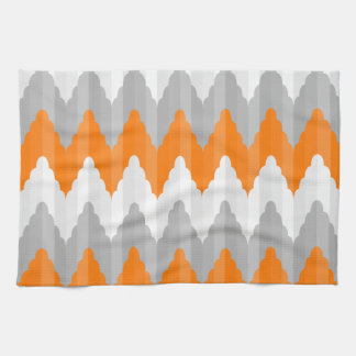 Modern Orange And Gray Chevron Striped Pattern Tea Towel