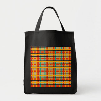 Modern orange and green plaid canvas bags