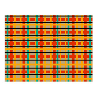 Modern orange and green plaid post cards