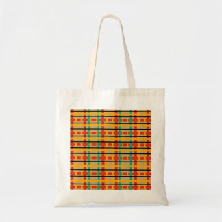 Modern orange and green plaid tote bags
