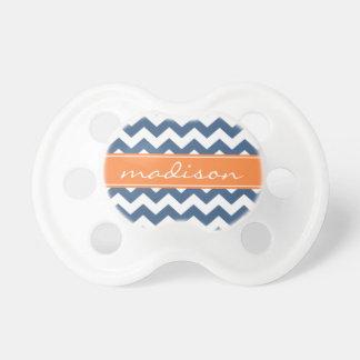 Modern Orange and Navy Chevron Custom Monogram Baby Pacifier