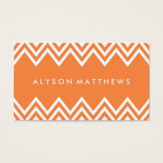 Modern Orange and White Chevron Business Card