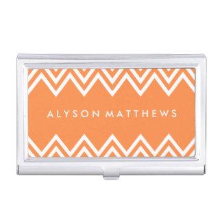Modern Orange and White Chevron Business Card Holder