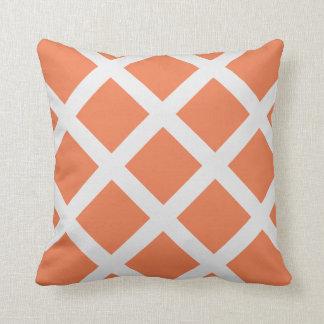 Modern Orange and White Criss Cross Stripes Pillow