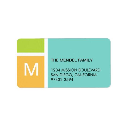 Modern orange blue colour block monogram address address label