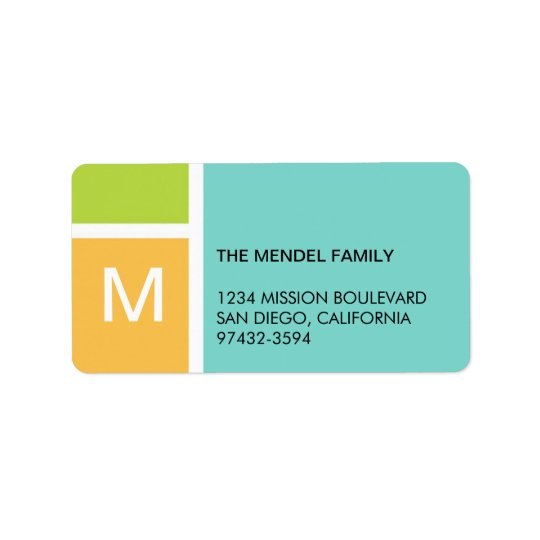 Modern orange blue colour block monogram address label