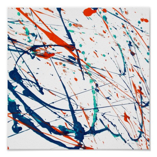 Modern orange blue teal watercolor splatters poster