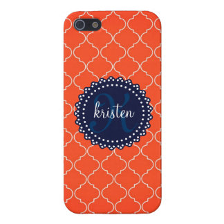 Modern Orange Bristol Tiles Personalized Trendy iPhone 5 Case