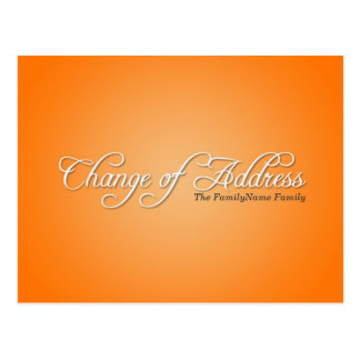 Modern Orange Change of Address Postcard