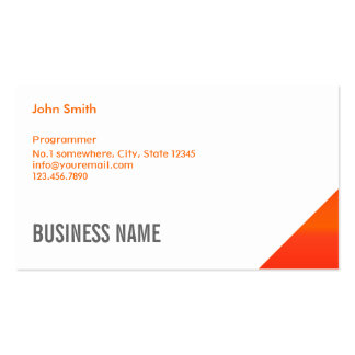 Modern Orange Corner Programmer Business Card