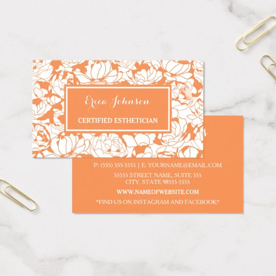 Modern Orange Floral Girly Certified Aesthetician Business Card