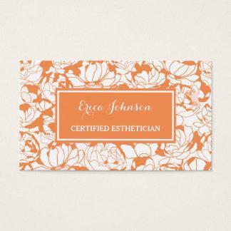 Modern Orange Floral Girly Certified Esthetician