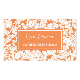 Modern Orange Floral Girly Certified Esthetician Pack Of Standard Business Cards