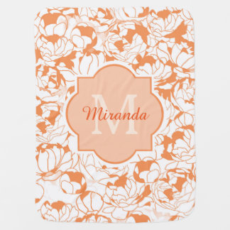 Modern Orange Floral Girly Monogram With Name Baby Blanket