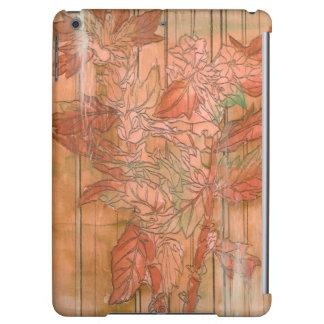 Modern Orange Floral Print on Stripped Background